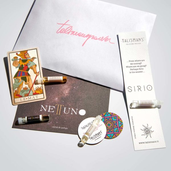 five 1,6 vials of Talismans, hand crafted in their elegant set with each brochure