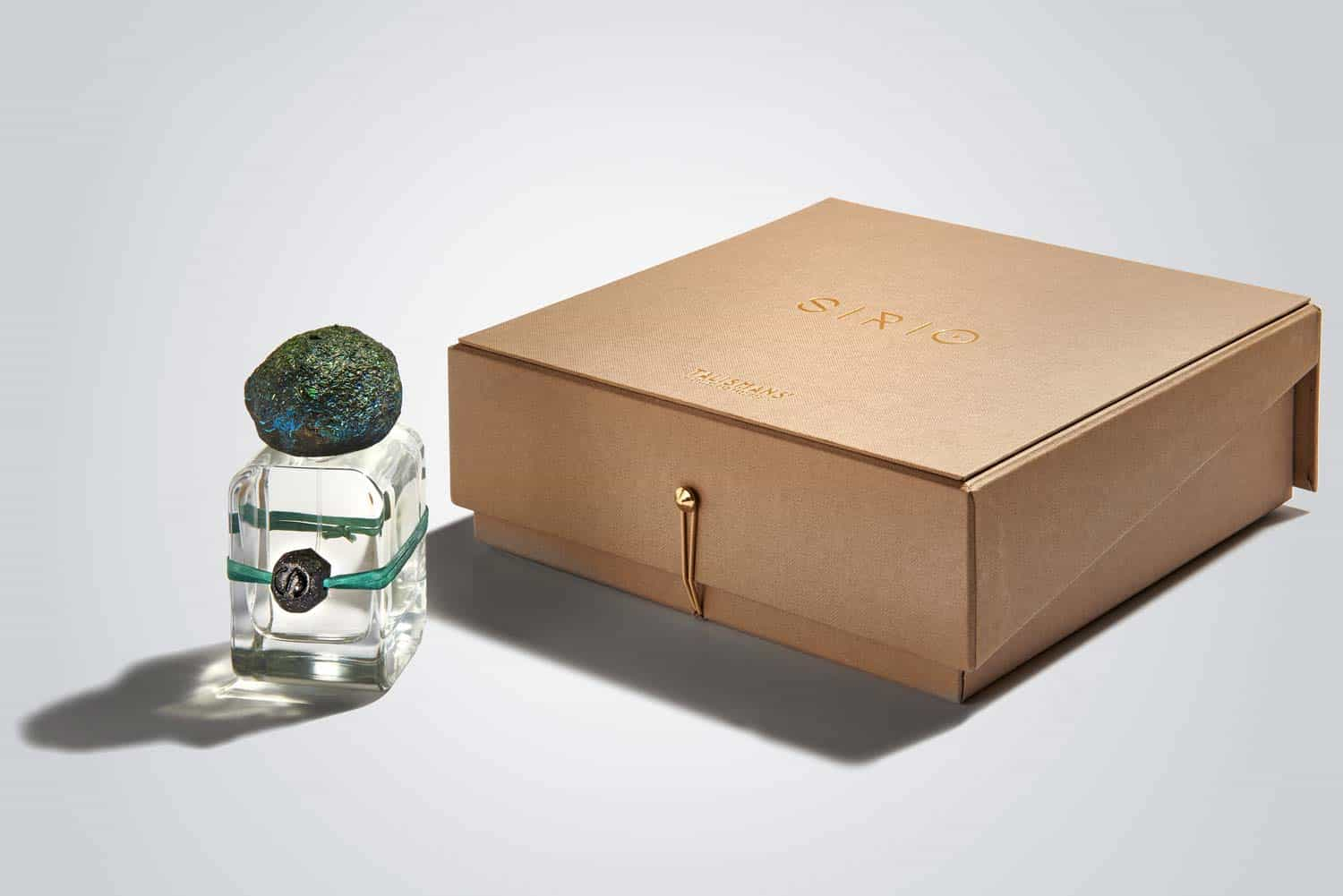 Sirio Extrait de Parfum flacon in glass bottle and hand sculpted cap and charm and handmade luxurious case