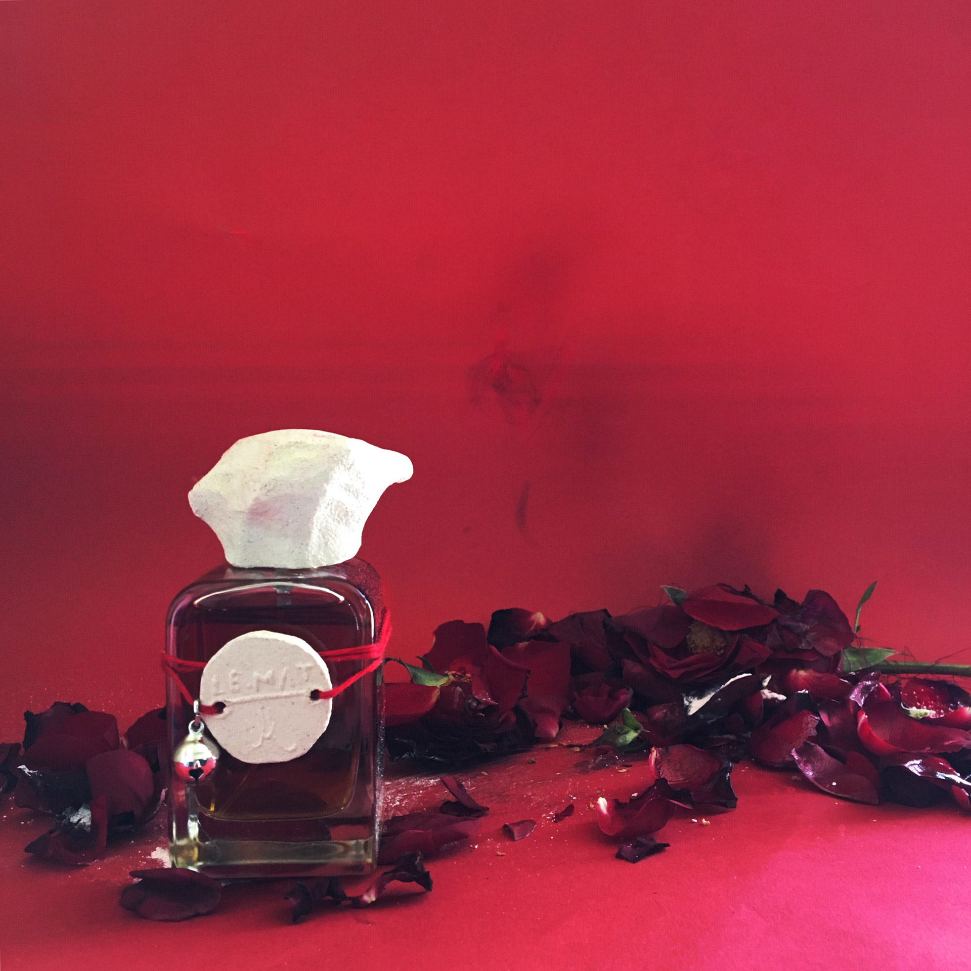 Le Mat on red background and rotten roses